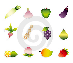 Cartoon Fruits And Vegetables Icon Set Stock Photo - Image: 20199150