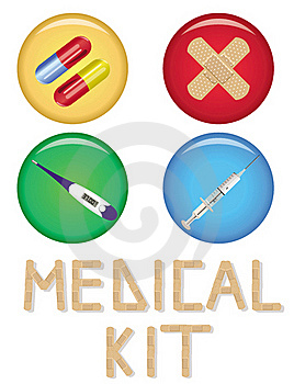 Medical Buttons Set Of Four Royalty Free Stock Photos - Image: 20199248