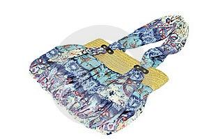 Handbag With Straw And Silk Cotton Stock Photo - Image: 20199450
