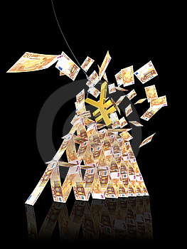 50 EURO TOWER COLLAPSE FROM YEN Stock Photo - Image: 20199650