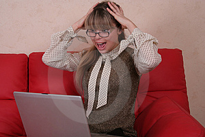 Amazed Woman In Glasses With Laptop Stock Photography - Image: 2026982
