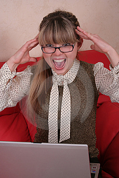Amazed Woman In Glasses With Laptop Stock Photo - Image: 2027000