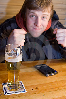 Fan With Beer And Palm-size PC Stock Image - Image: 2028451