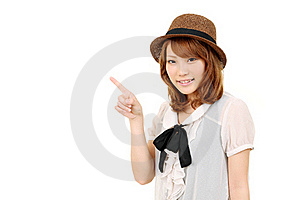 Verticale Du Pointage De Jeune Femme Photo libre de droits - Image: 20202805