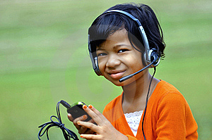 Girl With Headset Stock Image - Image: 20207151