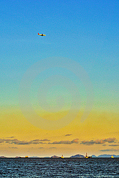 Ship And Airplain On The Sea Royalty Free Stock Photos - Image: 20207758