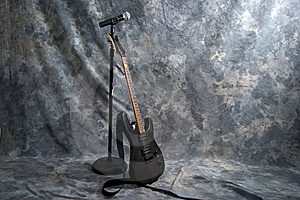 Electric Guitar And Microphone Stock Images - Image: 20224804