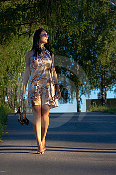 Beautiful Young Woman Walking In The Park Stock Photography - Image: 20226242