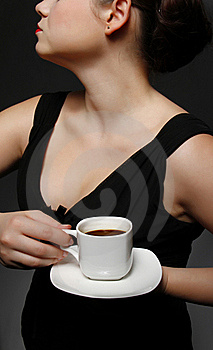 Woman With A Cup Of Black Coffee Stock Photos - Image: 20226343