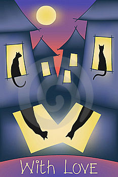 Cats, Night Sity, Moon And Love Stock Photos - Image: 20226813