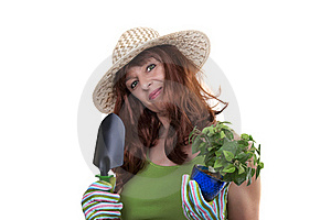 Redhead Woman Working In The Garden Stock Photo - Image: 20226890