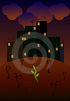 Dark Dirty Town And Green Sprout Royalty Free Stock Photo - Image: 20229365