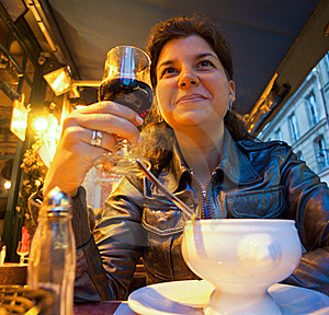 Woman Sitting In Restaurant Stock Photo - Image: 20230830