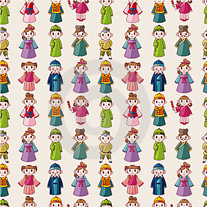 Cartoon Chinese People Seamlese Pattern Stock Photos - Image: 20231603