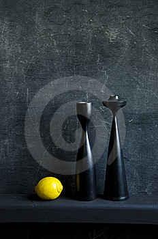 Black Still-life With Lemon Royalty Free Stock Photos - Image: 20231738