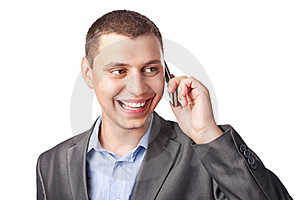 Smiling Happy Young Businessman With Mobile Stock Photography - Image: 20232102