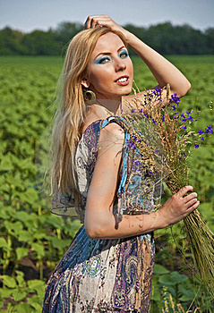 Woman With A Wild Flowers Stock Images - Image: 20236084