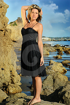 Woman On The Beach In Dress Royalty Free Stock Photography - Image: 20237447