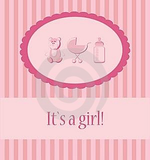 Baby Girl Arrival Announcement Card. Royalty Free Stock Image - Image: 20239286