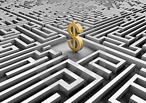 Dollar Symbol In A Maze Royalty Free Stock Images - Image: 20239959