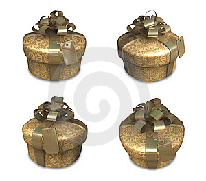 3d Decorated Gold Gift Stock Photography - Image: 20241632