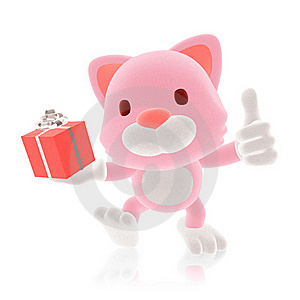 3d Pink Cat Giving Stock Photography - Image: 20241662