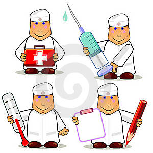 Four Cartoon Doctors Royalty Free Stock Image - Image: 20242136