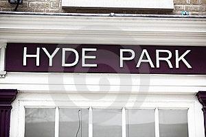 Close Up Of Hyde Park Sign Stock Photos - Image: 20242673