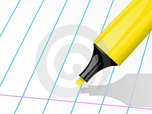Highligher Pen And Ruled Paper Royalty Free Stock Image - Image: 20242946