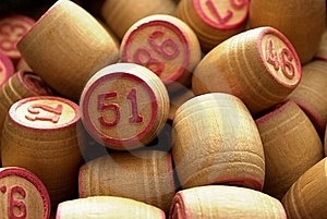 Wooden Barrels With Lotto Games In Red Digits Royalty Free Stock Photos - Image: 20246308