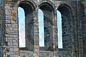 Stone Windows From The Ruins Of An Old Cathedral Royalty Free Stock Images - Image: 20248679