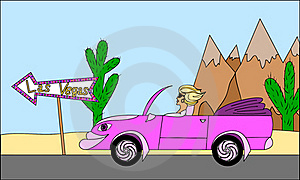 Girl With Cabriolet Car Stock Image - Image: 20250761