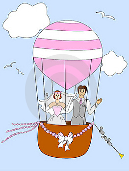 Just Married Couple Ballooning Royalty Free Stock Images - Image: 20250899