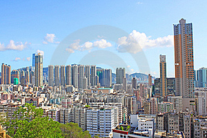 Hong Kong Downtown With Crowded Buildings Stock Photo - Image: 20251300