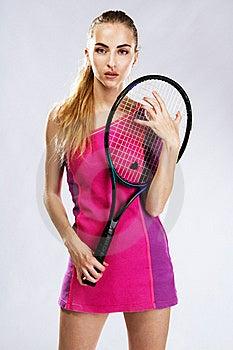 Beautiful Model With Tennis Racket Stock Photos - Image: 20253133