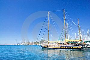 Splendid Yachts At Coast Aegean Sea. Royalty Free Stock Photography - Image: 20253607