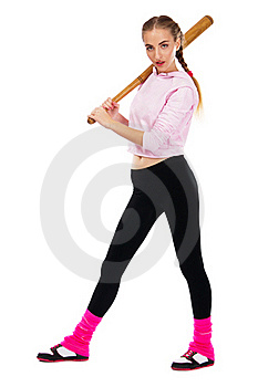 Pretty Lady With A Baseball Bat Royalty Free Stock Photography - Image: 20258327