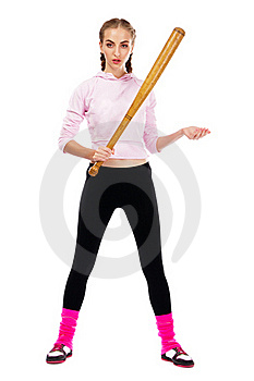 Pretty Lady With A Baseball Bat Stock Photography - Image: 20258352