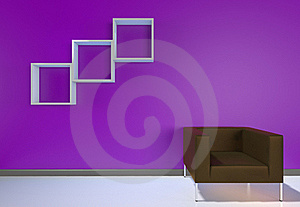 3D Render Modern Interior With Brown Armchair Stock Photo - Image: 20263720