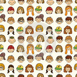 Seamless Young People Face Pattern Royalty Free Stock Photo - Image: 20264685