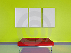 3d Render Modern Green Room With Red Seat Royalty Free Stock Photo - Image: 20270945