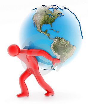 Man Holding Earth On White Stock Photos - Image: 20272103