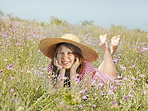 Retro Style Girl At Countryside Stock Image - Image: 20276531