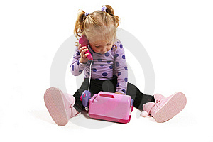 Little Girl Playing With Phone Stock Photos - Image: 20279983