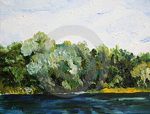 Trees Near The Water Oil Painting Stock Image - Image: 20280771