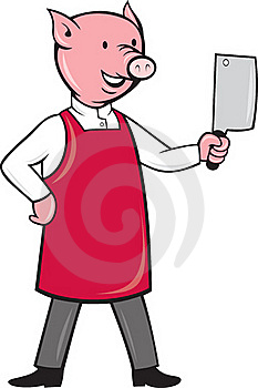 Pig Butcher Holding Meat Cleaver Knife Royalty Free Stock Photo - Image: 20282315