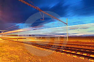 Train Moving In The Night Royalty Free Stock Photo - Image: 20286375