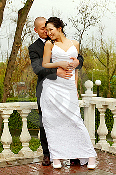 Bride And Groom In A Park Stock Image - Image: 20287401