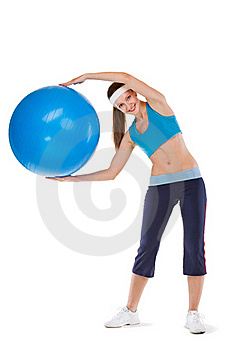 Girl Excersices With Fitball Stock Photos - Image: 20290473