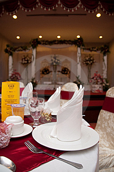 Dining Table And Wedding Reception Stage Royalty Free Stock Image - Image: 20291136